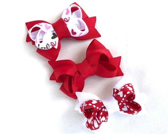Valentine's Day hair bows - hair bow set, baby bows, girls bows, pigtail bows, small bows, toddler bows