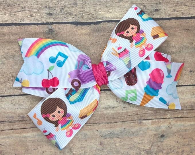 Summer hair bow - 5 inch hair bows, hair bows, bows for girls, baby bows, toddler hair bows, girls hair bows