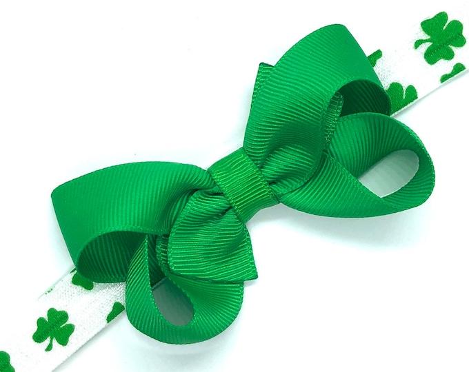 St. Patrick's Day headband - baby headband, baby headband bows, green baby headband, baby bows, baby girl headbands