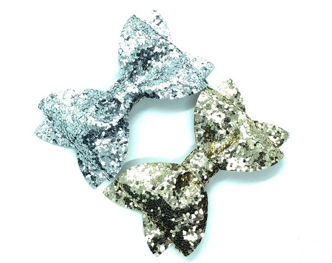 Glitter hair bows - hair bows, baby bows, girls hair bows, silver bows, toddler bows, gold bows