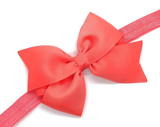 Coral baby headband - newborn headband, baby girl headband, baby bow headband, baby bows, baby headband bows