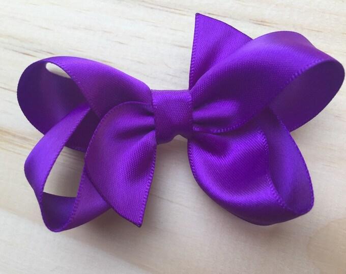 Purple satin hair bow - hair clips, hair bows, bows, hair bows for girls, baby bows, baby hair bows, satin bows, hair clips for girls