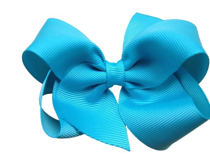 Turquoise hair bow - hair bows, girls bows, baby bows, toddler hair bow, boutique bows, 4 inch hair bows