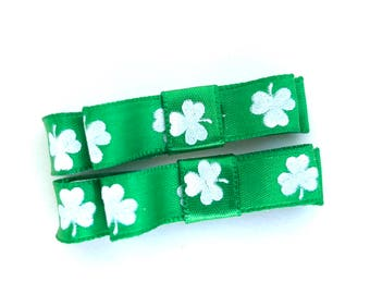 St. Patrick's Day hair clips - baby bows, girls bows, toddler bows, small bows, St. Patrick's Day bows