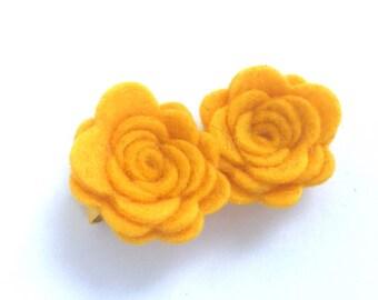 Yellow gold flower hair clip - hair clips, hair bows, bows for girls, baby bows, felt hair bow, felt flowers, toddler bows