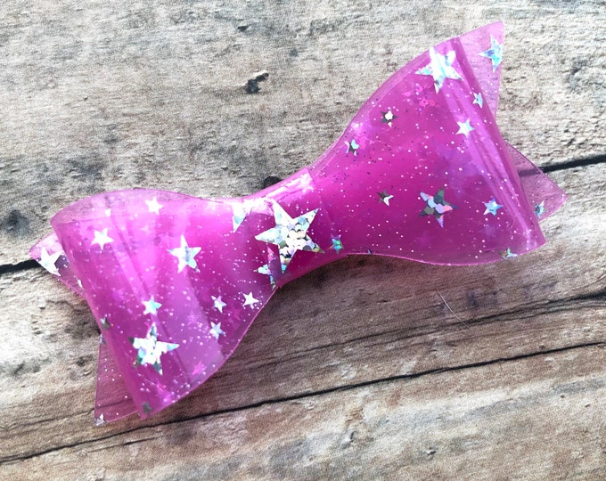 Pink star waterproof hair bow - pool bows, hair bows, girls hair bows, hair bows for girls, toddler hair bows, baby hair bows, jelly bows