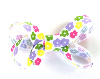 Floral baby bow - hair bows, baby bows, bows for girls, pigtail bows, toddler hair bows, small bows