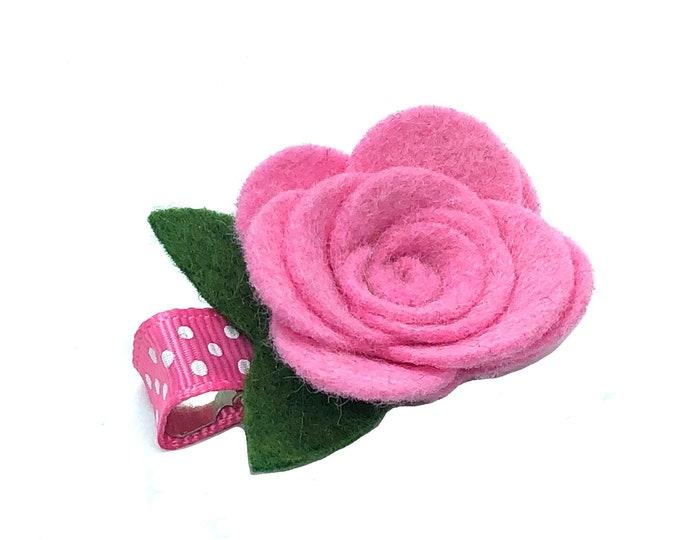Pink felt flower hair clip - felt bows, felt hair bows, baby hair bows, baby bows, flower hair clips, flower hair bows