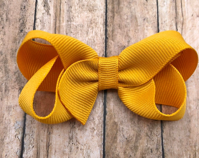 Mustard yellow hair bow - hair bows for girls, boutique bows, toddler hair bows, big hair bows