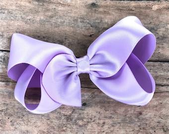 Light purple satin hair bow - satin bows, hair clips, hair bows for girls, baby bows, toddler bows, boutique bows
