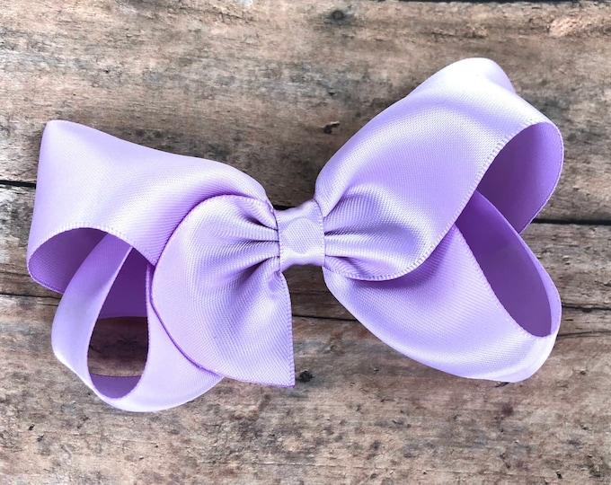 Light purple satin hair bow - hair bows, satin bows, bows, hair clips, hair bows for girls, baby bows, toddler bows, boutique bows, hairbows