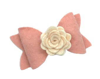 Felt hair bow - felt bows, felt flower hair bows, baby headband, baby bows, toddler hair bows, baby girl headbands