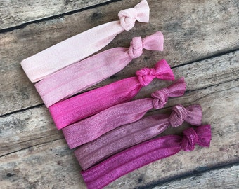 Set of 6 pink elastic hair ties - hair ties, ponytail holders, no crease hair ties, hair bows, girls hair ties