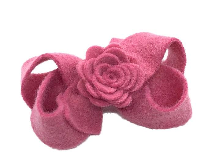 Pink hair bow - felt hair bows, hair bows, bows for girls, baby bows, toddler bows, hair clips
