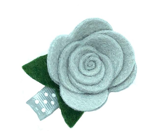 Gray felt flower hair clip - felt flower clip, baby bows, toddler bows, girls bows, small bows, flower bows, hair bows