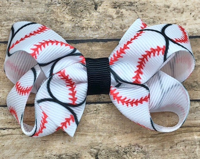 Baseball hair bow - baseball bow, sports bow, baseball, girls hair bows, girls bows, team bows