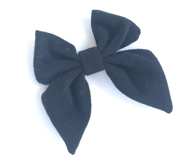Fabric hair bow - sailor bows, bows for girls, hair bows, fabric bows, baby bows, toddler hair bows, black bows