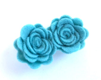 Flower hair clip - Baby blue - felt hair clip, hair bows, hair bow, bows, hair clips, hair bows for girls, baby bows, hairbows, felt bows