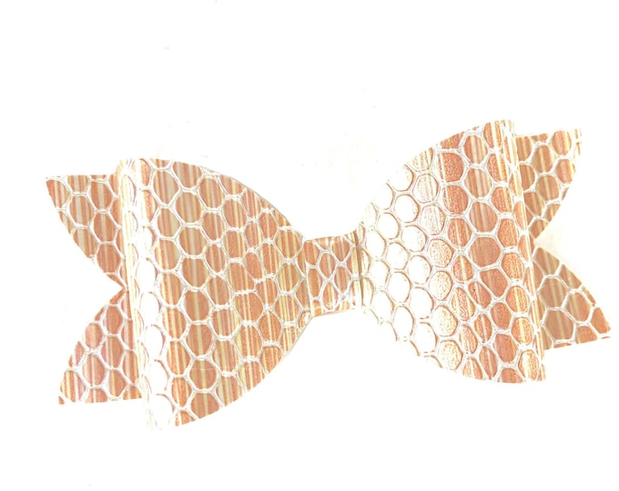 Gold snakeskin hair bow - hair bows, bows for girls, baby bows, toddler hair bows, faux leather bows, gold bows
