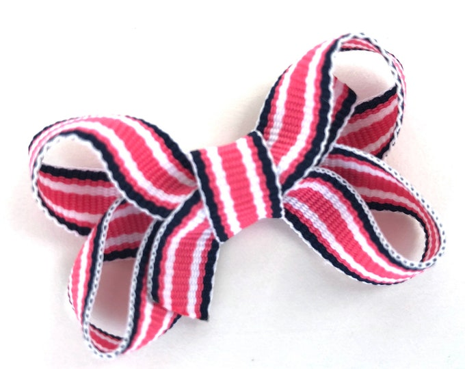 Pink & navy striped baby bow - baby bows, hair bows for girls, baby hair bows, toddler hair bows, small bows