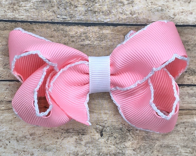 Pink hair bow - hair bows for girls, baby bows, pigtail bows, boutique bows, toddler hair bows, 3 inch hair bows