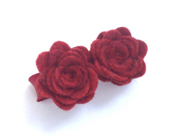 Flower hair clip - felt hair clip, hair bows, hair bow, hair clips, hair bows for girls, baby bows, baby hair clips, hairbows, red bows