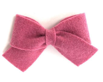 Pink hair bow - felt bow, hair bows, bows, hair bow, hair clips, sailor bows, hair clip, hair clips for girls, baby bows, felt hair bow