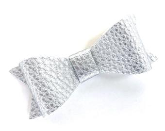 Silver hair bow - faux leather bow, hair bows, bows for girls, baby bows, baby hair bows, hair clips, hairbows, toddler hair bows