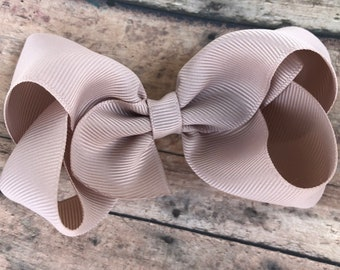 Taupe hair bow - hair bows, bows for girls, baby bows, toddler hair bows, boutique bows, 4 inch hair bows, big bows