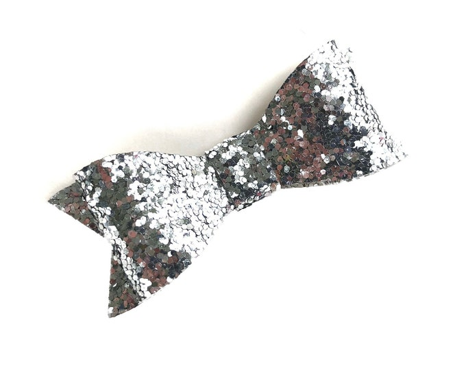 Glitter hair bow - silver hair bow, hair bows, baby bows, girls hair bows, silver bows, toddler bows