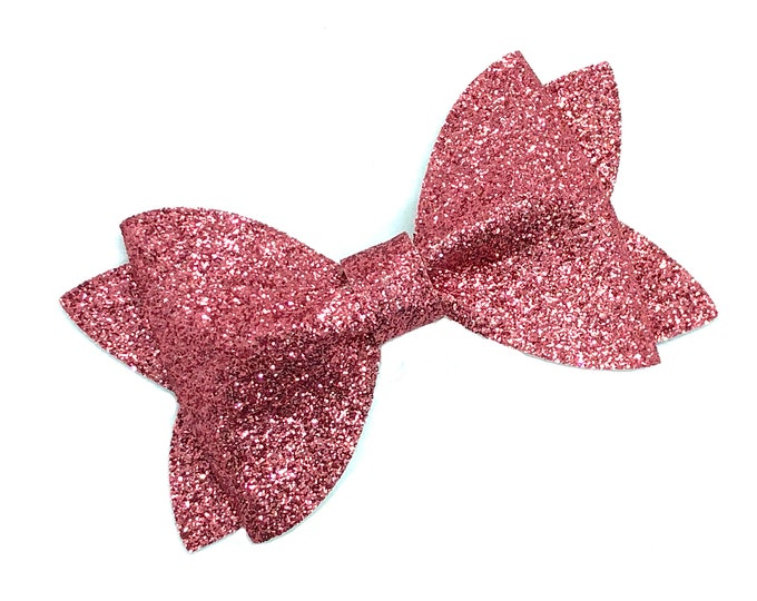 Glitter hair bow - pink hair bow, hair bows, baby bows, girls hair bows, baby headband, toddler bows