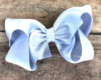 Silver hair bow - silver bows, hair bows, bows for girls, satin bows, toddler hair bows, 4 inch hair bows