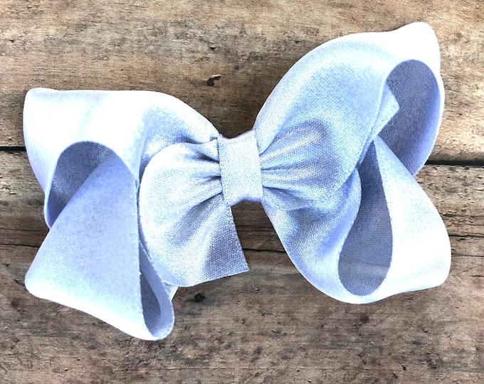 Silver hair bow - silver bows, hair bows, bows for girls, satin bows, toddler hair bows, 4 inch hair bows