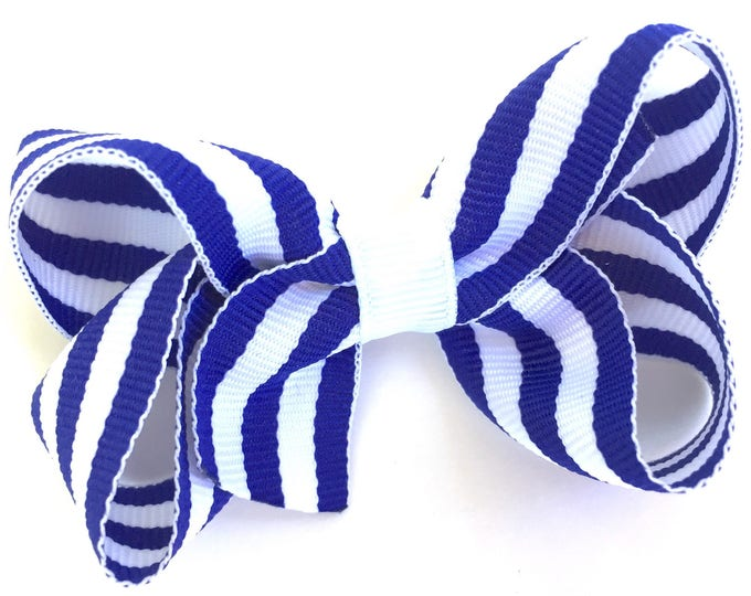 Blue and white hair bow - hair bows for girls, baby bows, pigtail bows, toddler hair bows, 3 inch hair bows