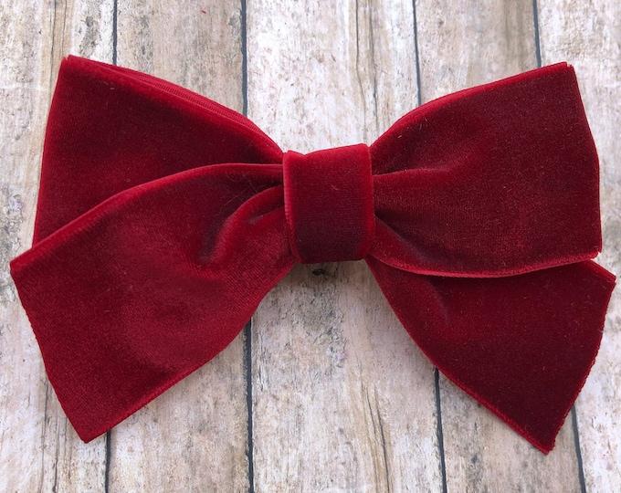 Dark red velvet hair bow - hair bows, velvet bows, hair clips, hair bows for girls, baby bows, baby headband, nylon headband