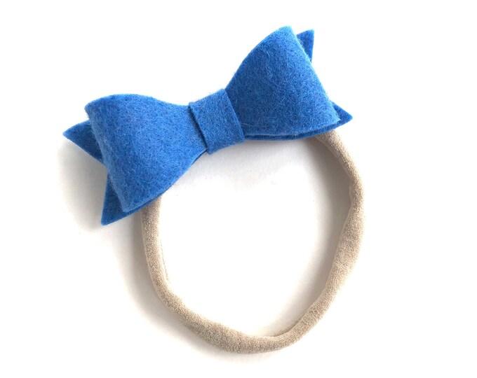 Blue baby headband - nylon headband, baby girl headband, baby headband bows, newborn headband, baby bows