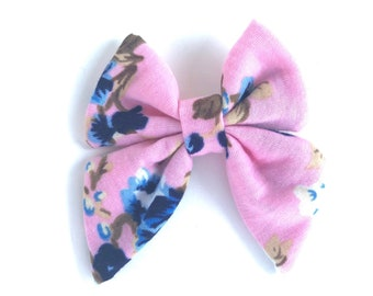 Floral bow - sailor bows, girls hair bows, toddler hair bows, baby hair bows, fabric hair bows, hair bows