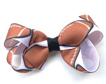 Football hair bow - hair bows, bows for girls, toddler hair bows, baby bows, football bows, boutique hair bows