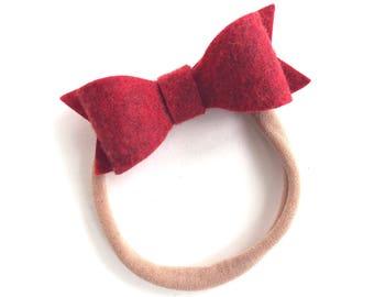 Dark red baby headband - nylon headband, baby girl headband, baby headband bows, newborn headband, baby bows, baby bow headband