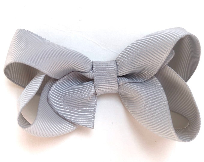 Light gray hair bow - hair bows, baby bows, bows for girls, pigtail bows, baby hair bows, girls hair bows, toddler bows, hairbows