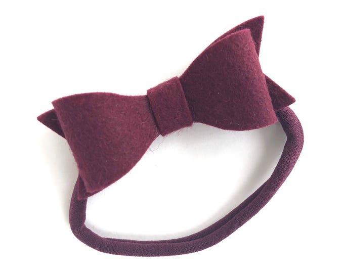 Burgundy baby headband - nylon headband, baby girl headband, baby headband bows, newborn headband, baby bows, baby bow headband