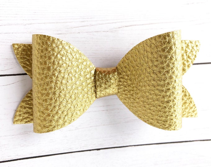 Gold hair bow - faux leather bow, hair bows, bows for girls, baby bows, baby hair bows, felt bows, hair clips
