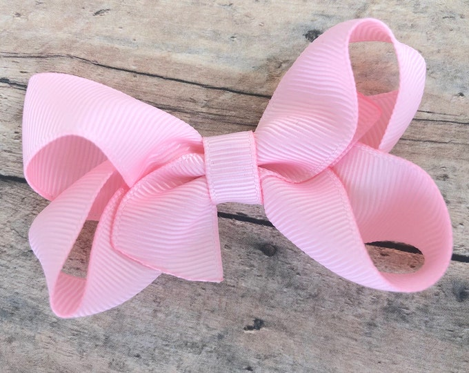 Baby pink hair bow - hair bows for girls, baby bows, toddler hair bows, pigtail bows, 3 inch hair bows