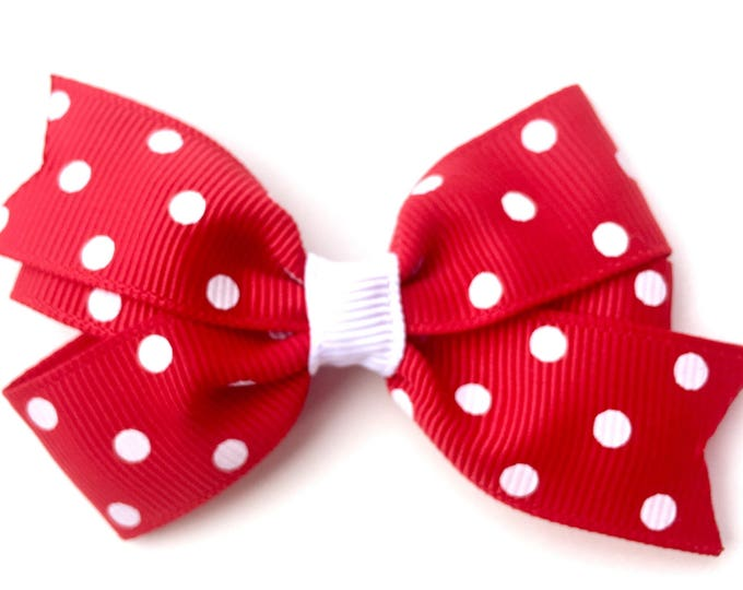 Red polka dot hair bow - hair bows, bows for girls, baby bows, pigtail bows, girls hair bows, toddler hair bows, hairbows