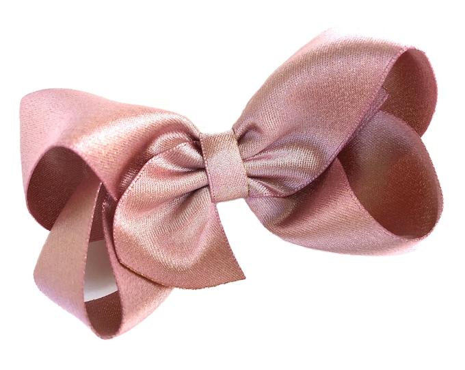 Rose gold hair bow - hair bows, bows, hair clips, satin bows, hair bows for girls, baby bows, baby hair bows, hair clips for girls, toddler