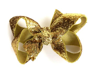 Gold hair bow - hair bows for girls, baby bows, toddler hair bows, girls bows, gold bows, pigtail bows, hairbows