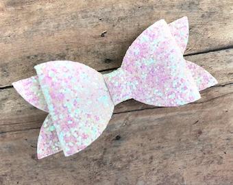 White glitter hair bow - hair bows, bows for girls, baby bows, toddler hair bows, 4 inch hair bows