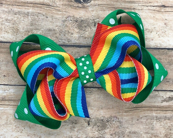 St. Patrick's Day hair bow - girls hair bows, toddler bows, baby bows, 3 inch hair bows