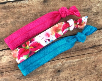 Set of 3 elastic hair ties - hair ties, ponytail holders, no crease hair ties, hair accessories