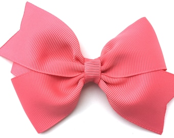 Coral hair bow - hair bows for girls, pigtail bows, toddler bows, 4 inch hair bows